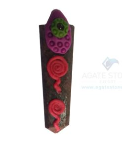 Chocolate Stone Tibetan Flat Pencil Healing Pendant