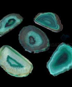 Green Dyed Polished Agate Slices