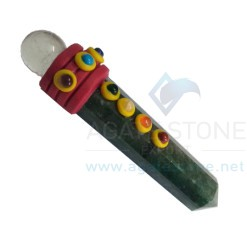 Green Mica Tibetan Healing Sticks with Seven Chakra Gems