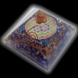 Indigo Onyx Orgone Chakras Flower of Life Pyramid with Crystal Point