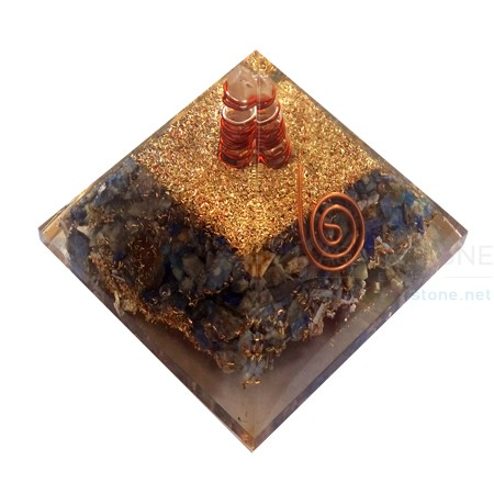 Lapis Lazuli Orgone Pyramid with Crystal Quartz Point