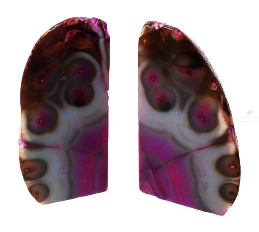 Lovely Rare Pink Agate Bookends with Natural Designs