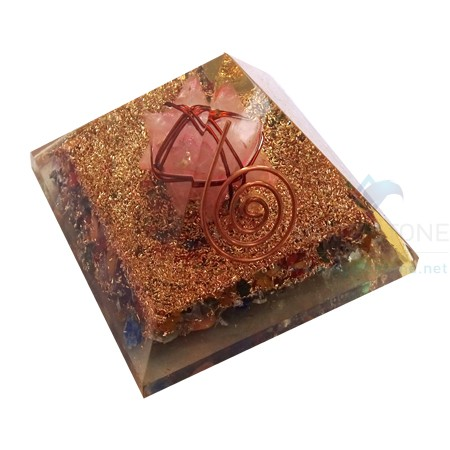 Mix Chakra Healing Orgone Pyramid with Rose Quartz Merkaba Stars