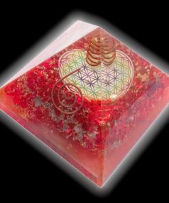 Orgone Red Onyx Flower of Life Symbol Orgonite Chakra Pyramid