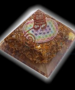 Orgone Yellow Camel Jasper Flower of Life Chakra Orgone Pyramids with Charged Copper Wrapped Crystal Point