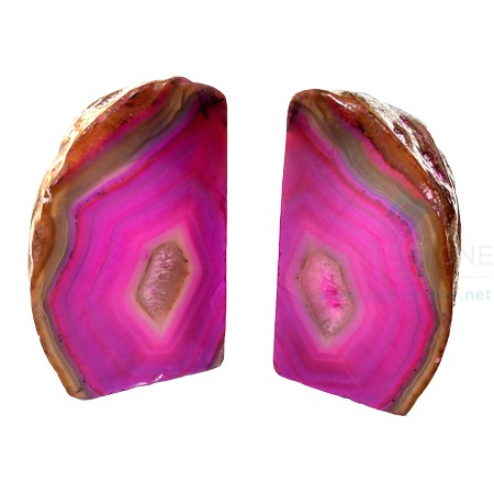 Pink Dyed Natural Agate Bookends