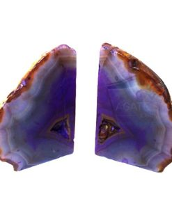 Purple Dyed Agate Natural Bookends