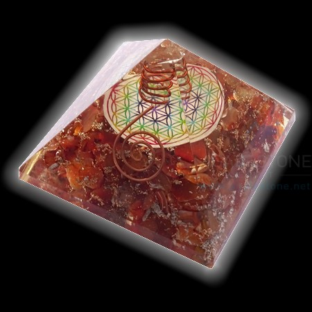 Red Carnelian Flower of Life Chakra Orgone Pyramids with Wire Wrapped Crystal Point