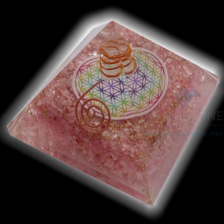 Rose Quartz Orgone Chakra Pyramid with Flower of Life and Crystal Point Orgonite Pyramid