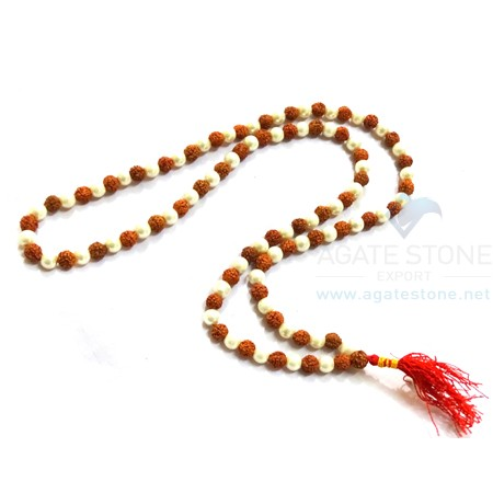 Rudraksh Crystal Japmala Necklace