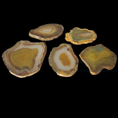 Yellow Dyed Polished Agate Slices
