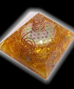 Yellow Onyx Flower of Life Chakra Pyramid with crystal point