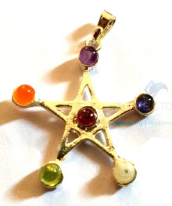 7 Chakra 5 Point Star Metal Pendants