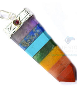 7 Chakra Bonded Flat Pencil Point Pendant with Garnet Gem