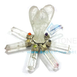 7 Chakra Clear Quartz Energy Generator with Healing Crystal Angel