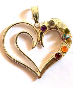 7 Chakra Couple Hearts Metal Pendant