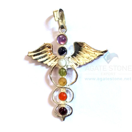 7 Chakra Flying Angel with Spread Wings Metal Pendant