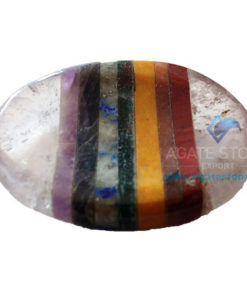 7 Chakra Sandwich Clear Quartz Worry Stone