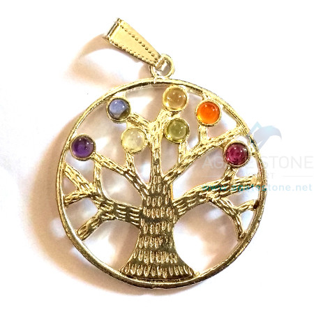 7 Chakra Tree of Life Metal Pendant