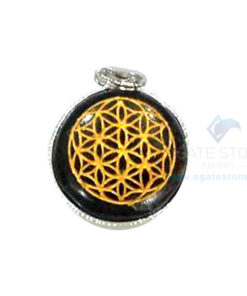 Black Tourmaline Disc Engraved Chakra Pendant