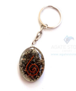 Black Tourmaline Orgonite Oval Keychains