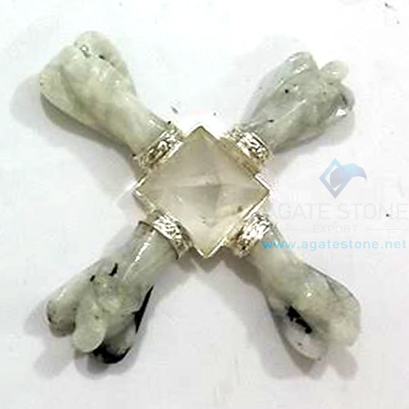 Energy Generator with 4 Rainbow Moonstone Angels and Clear Quartz Pyramid