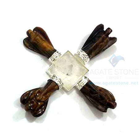 Energy Generator with 4 Tiger Eye Angels and Crystal Quartz Pyramid