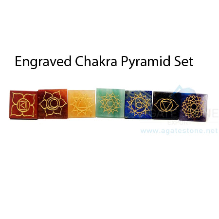 Gemstone Engraved Chakra Pyramid Set
