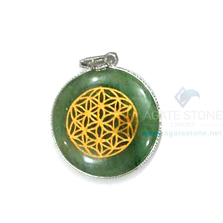 Green Aventurine Engraved Disc Chakra Set