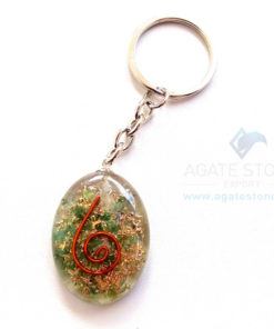 Green Jade Orgonite Oval Keychains