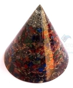 Mix Chakra Big Orgone Cone - Orgonite Antenna