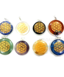 Mix Gemstone Disc Chakra Engraved Pendants