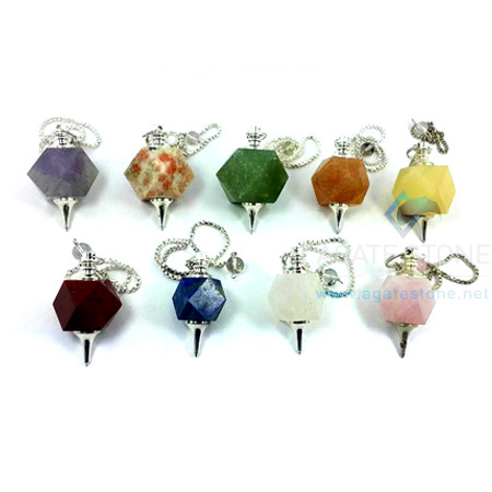 Mix Gemstone Octagonal Faceted Pendulum