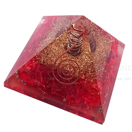 Orgone Red Onyx Pyramid with Crystal Point