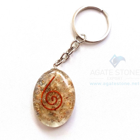 Orgonite Crystal Oval Keychains