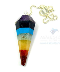 Seven Chakra Healing Bonded Faceted Pendulum