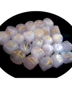 White Moonstone Tumbled Stone Rune Set