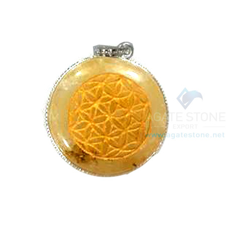 Yellow Aventurine Disc Chakra Engraved Pendant