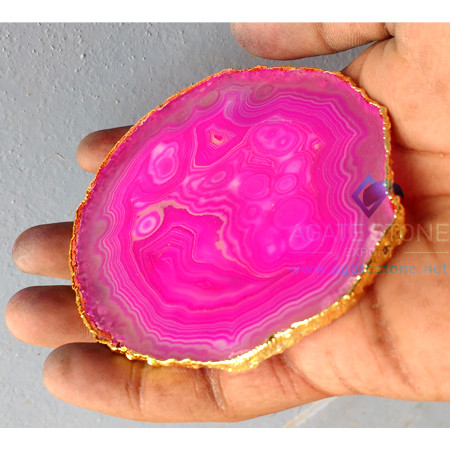 pink-dyed-grey-agate-electroplated-coasters